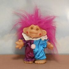 "Adopt-a-Norfin 5"" circus clown TROLL DOLL: purple/pink/white ruff/red cheeks"