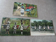 vintage South Africa, 3 Post cards of South African Rickha Boys - good condition