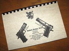 SAFARI ARMS .45 Cal Auto ENFORCER MATCHMASTER Pistol Owners Instruction Manual