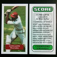 Cricket - WEST INDIES - CLIVE LLOYD - Score Champions of World Sport trade card