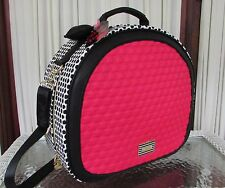 Betsey Johnson Train Case Weekender Fuchsia Polka Dots Travel Bag Luggage NWT