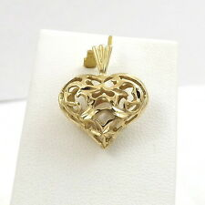 14K YELLOW GOLD 3D OPEN FILIGREE CAGED PEARL HEART CHARM PENDANT 1.8gr