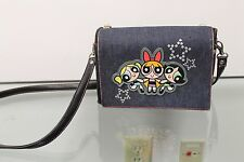 "VINTAGE POWERPUFF GIRLS BLOSSOM BUTTERCUP BUBBLES 8"" X 6"" X 4"" DENIM PURSE BAG"