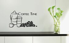 Vinyl Wall Decal Quotes for Kitchen Coffee Time Great Decor Stickers (ig1194)