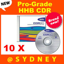 10 x NEW HHB CDR-80 Silver Pro-Grade 700MB/80 Min Recordable Blank CD Discs