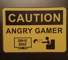 Caution angry gamer sign funny Sticker laptop guitar tablet 063