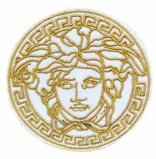 "2.5"" White VINTAGE MEDUSA LOGO Embroidered Iron On / Sew On Patch"