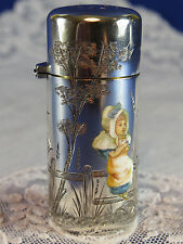 Antique Sampson Mordan Silver & Enamel Kate Greenaway Scent Powder Bottle 1882