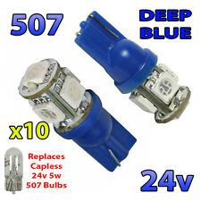 10 x Blue 24v Capless Hella Spot Light 505 W3W 5 SMD T10 Wedge Bulbs HGV Truck