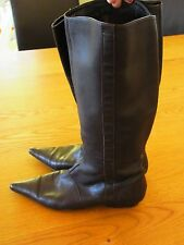Nina Proudman styleBrown Leather Zu Flat Pull On Pointy Toe Knee High Boots Sz 7