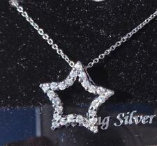 NWT SPARKLING CUBIC ZIRCONIA & STERLING SILVER STAR PENDANTW/CHAIN~FREE US SHIP
