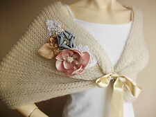 Stone  Bridal Capelet/Wedding Wrap Shrug/ Hand Knit Mohair Shawl with Brooch