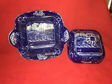 Historical Staffordshire Landing of Lafayette Covered Vegetable Dish Ca. 1825