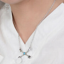 "Arrow Silver Necklace Boho Lady "" X "" Cupid Match-Up Turquoise Vintage Chain New"
