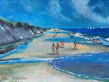 1997 Oil Painting Seascape Summer Beach Scene Shore Signed Mario Santana