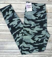Extra PLUS Size Camo Camouflage Leggings Black Gray Print Curvy 16-24