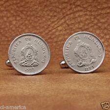 Honduras Coat Of Arms Coin Cufflinks, 20 Cents Silver Tone Honduran