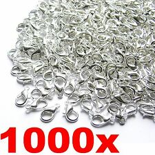 Lots of 1000pcs Silver Plated Lobster Clasps HooJewelry Findings 12mm Wholesale