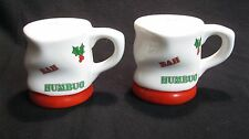 Christmas Dented Mug Bah Humbug Salt and Pepper Shakers Enesco Ceramic        42