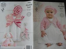 """King cole tricot motif: bébé/filles cardigans & béret, dk 16-26"""", 4193"""