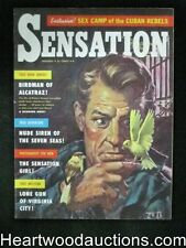 """Sensation"" January 1959  H.P. Lovecradt,Birdman of Alcatraz Cover - High Grade"