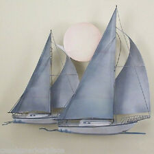 NAUTICAL ART DESIGNS Sunset Sail Two Sailboats Handmade Metal Wall Sculpture