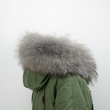 D535 Echt  Pelzkragen Kapuzen Streifen Kragen Raccoon fur collar Large Fur