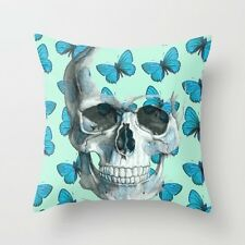 Cushion Pillow Cover Blue Butterfly & Skull 18'*18'