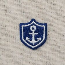 Iron On Embroidered Applique Patch Small Mini Blue and White Anchor in Shield