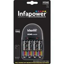 Infapower C001 Home Battery Charger 4 x AA 1300mAh Rechargeable Batteries Black