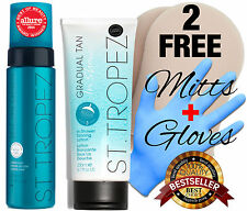 St. Tropez Self Tan Express MOUSSE + IN SHOWER GRADUAL TANNING LOTION +  MITTS