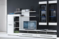 MODERN Living Room Furniture FEVER 2 Set LED wall units TV cabinets White Gloss
