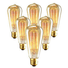 6 pcs 60W ST64 Edison Bulbs Filament Light Lamp E26 110V Incandescent Globe