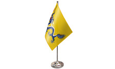 Chinese Dragon Satin Flag with Chrome Base Table Desk Flag Set