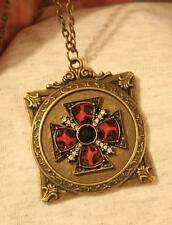 Striking Fleur de Lis Rim Red Black Rhinestone Maltese Cross Brasstone Necklace