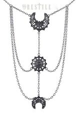 RESTYLE Gothic Steampunk Luna Pendant Chain NECKLACE Oriental Moon Phases Silver