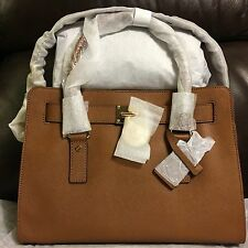 NWT MICHAEL KORS Hamilton E/W Medium Saffiano Leather Satchel Purse Luggage Gold