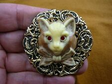 (CL52-109) KITTY tan brown Hell cat kitten large CAMEO Pin Pendant brooch cats