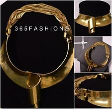STATEMENT ANTIQUE CHUNKY OVERSIZE LARGE TRIBAL CURVE COLLAR CUFF NECKLACE GOLD