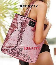 PINK SEQUIN Glam Sparkle Tote Beach Shopping Bag Victoria's Secret New 2016 15""