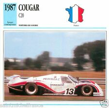 COUGAR C20 1987 CAR VOITURE FRANCE CARTE CARD FICHE