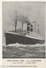 Red Star Line S.S. Lapland Shipping Postcard, B559