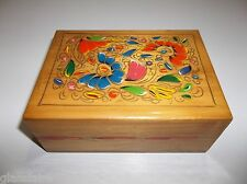 Vintage Mexican Folk Art Hand Painted WOOD Jewelry TRINKET BOX RED Blue FLOWERS