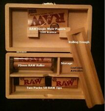 Storage Stash Box +100 RAW Single Wide Rolling Papers,100 Tips,RAW Roller