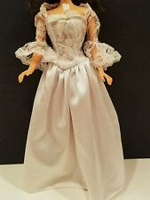 Barbie Tagged White Lace Wedding Gown with 3/4 Length Bell Sleeves