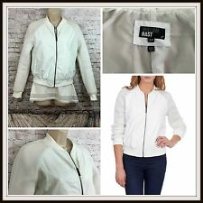 WILLIAM RAST Sz Small Women White Faux Leather Mesh Zip Up Bomber Jacket Casual