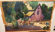 DONITA MC FARLAND BARN AND WAGON ORIGINAL WATERCOLOR PAINTING