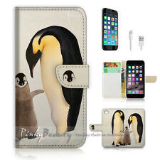 iPhone 7 (4.7') Flip Wallet Case Cover P0545 Penguin Family
