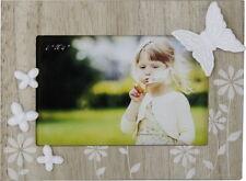 Kinder Fotorahmen, Bilderrahmen mit Schmetterling und Blumen Holz Süß