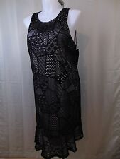 Alfani Plus Size Mixed Print Eyelet Overlay Sleeveless A-Line Dress 3X #2237